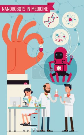 Illustration for Cool concept vector design on nanorobots in medicine. Science laboratory specialists working on research and exploration tests focused on nano robots usage - Royalty Free Image