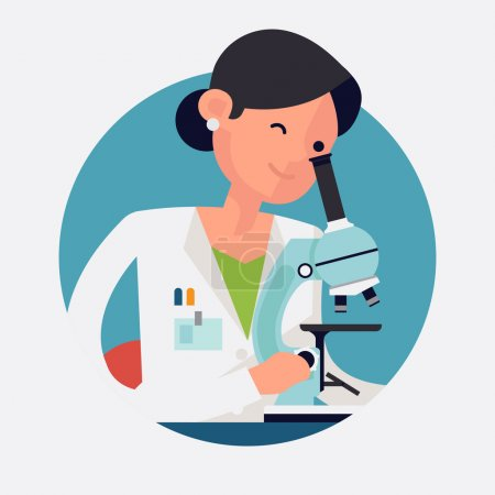 Illustration for Trendy flat design round web icon on female scientist character at work | Concept design on chemistry laboratory specialist working on research and exploration - Royalty Free Image