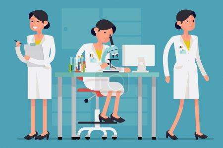 Illustration pour Conception de concepts créatifs sur le caractère scientifique féminin dans différentes poses et situations telles que travailler sur la recherche au microscope, marcher, tenir le presse-papiers - image libre de droit