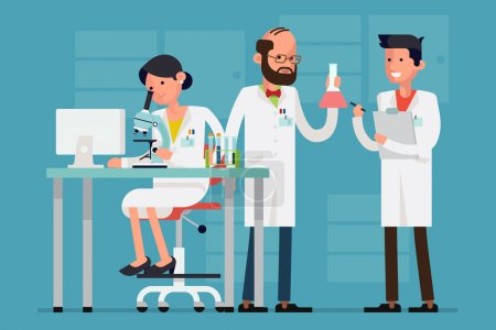 Illustration for Modern flat design female and male scientist characters at work | Concept design on chemistry laboratory specialists working on research and exploration - Royalty Free Image