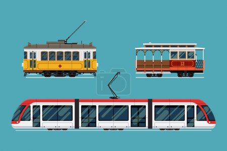 Illustration for Set of beautiful detailed city railway transport | Metropolitan mass transit system icons featuring vintage tram car, cable car and modern tramway train. Ideal for transportation infographics - Royalty Free Image