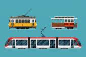 Set of beautiful detailed city railway transport | Metropolitan mass transit system icons featuring vintage tram car cable car and modern tramway train Ideal for transportation infographics
