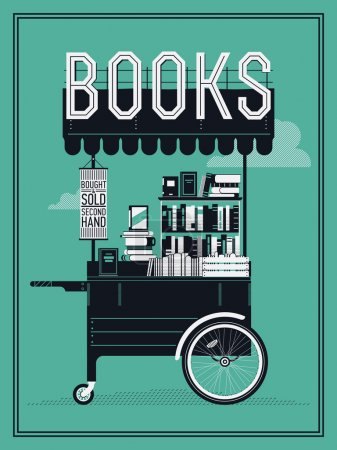 Illustration for Beautiful portable book cart vector illustration | Small bookshop stand with secondhand books. Ideal for book themed graphic and web design, posters, wall art and other printables - Royalty Free Image