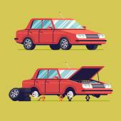 Vector flat auto service illustration with sedan car standing on jacks without wheels and opened hood | Car service web icon with car in two stages | Tire changing or braking system fix process