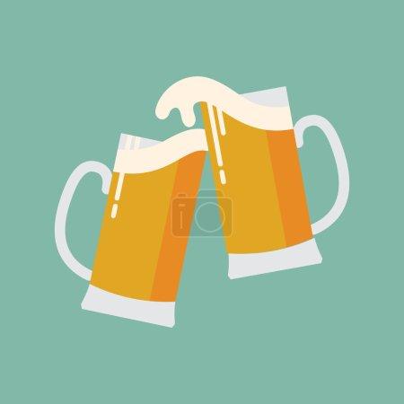 Illustration pour Icône design plat vectoriel moderne cool sur les tasses à bière clink Icône web minimaliste lors de la célébration avec collision de bière et débordement avec de la mousse - image libre de droit