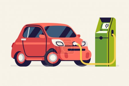 Illustration for Electric vehicle charging cool concept vector illustration | Small green energy city subcompact microcar charging | Trendy flat illustration on eco friendly transport - Royalty Free Image