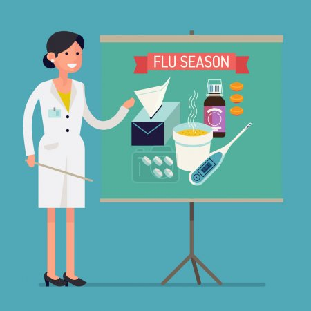 Illustration for Friendly female medical worker giving presentation on flu and cold season | Vector flat design on flu season preparation notice with pharmacist character talking about essential treatment items - Royalty Free Image