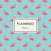 Lovely pink flamingo vector flat seamless pattern in light blue and pink color scheme Ideal for wrapping paper printables website background wallpaper and fabric design Artwork on separate layer