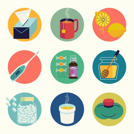 Illustration for Cool set of cold and flu season round web icons in vector flat design featuring tissue, hot beverage tea mug, lemon fruit, honey jar, cup of chicken soup, aspirin pills, thermometer, cough syrup - Royalty Free Image