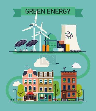 Illustration pour Environnement vert et écosystémique énergie cool vecteur plat design visuel ou modèle de bannière Web. Illustration de concept de ressources énergétiques alternatives avec éoliennes, centrales nucléaires, panneaux solaires - image libre de droit