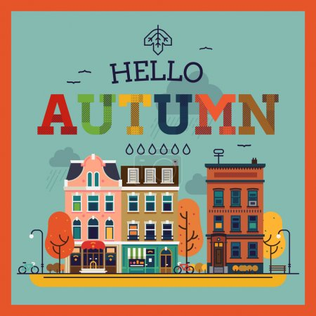 Hello Autumn seasonal background with   city
