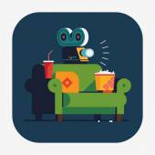 Beautiful vector flat design web or application icon on home movie watching entertainment with green sofa couch soda popcorn and film projector Ideal for web graphic and motion design