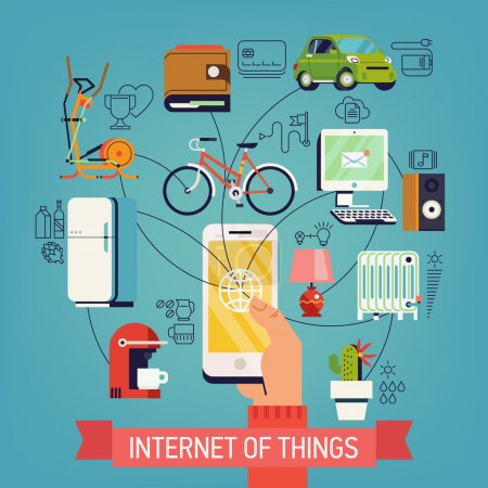 Illustration for Internet of things vector concept design in trendy flat design with hand holding mobile phone connected to various objects | Future of network high technology in everyday life | Internet of everything - Royalty Free Image