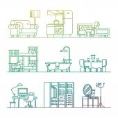 Set of trendy linear icons on various room types home interior | Thin line contour illustrations on living room kitchen bathroom kids' room dining bedroom workspace and more