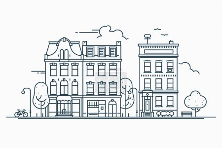 Illustration for Beautiful detailed linear cityscape with various row townhouses, small town street with building facades thin line trendy illustration. Ideal for graphic, web and motion design - Royalty Free Image