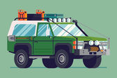 Cool retro styled fully equipped expedition safari SUV off road four wheel vector vehicle illustration | Classic design 4WD car isolated transportation traffic design element in trendy flat design