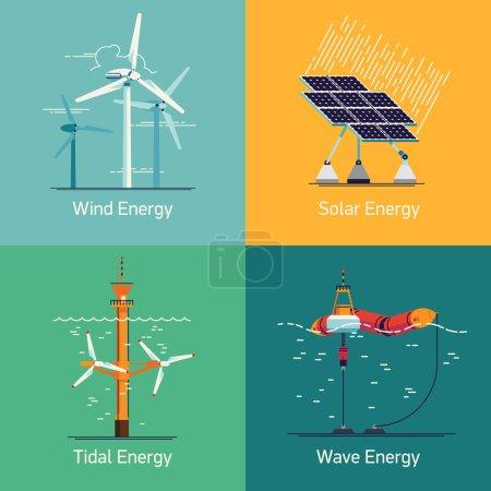 """Illustration pour Dispositifs écologiques de production d """"énergie électrique renouvelable à faible et zéro émission sur le Web et icônes sur les sources d"""" énergie verte telles que les éoliennes, les panneaux solaires, les marées et les vagues - image libre de droit"""