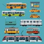 Large set of vector mass rapid transit urban vehic...