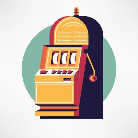 Illustration pour Cool vecteur plat design un bandit armé machine à sous casino jeu article icône web. Idéal pour le jeu sur le thème graphique et web design - image libre de droit