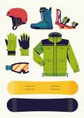 Trendy vector snowboarding gear design elements | Winter sports activities accessories and equipment flat design