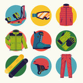 Set of cool extreme sport winter activity round icons vector in flat design featuring boots jacket goggles gloves helmet and bindings Ideal for snowboarding themed graphic and web design
