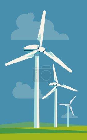 Illustration pour Cool vecteur plat conception éolienne source d'énergie arrière-plan CatégTrendy éoliennes industrielles illustration. Idéal pour l'infographie des ressources écologiques, énergétiques et énergétiques - image libre de droit