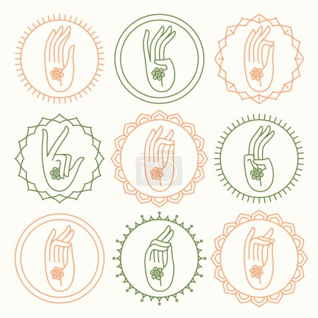 Yoga meditation hand round  icons