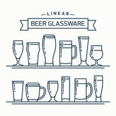 Lovely linear flat design vector beer glassware set | Various types of beer glasses mugs and goblets in trendy outline style featuring stout lager porter ale pilsner and other beer glasses