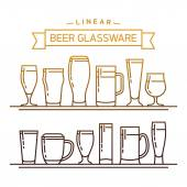 Lovely linear flat design vector beer glassware set Ideal for graphic and motion design in bars and restaurants industry Featuring stout lager porter ale pilsner and other beer glasses