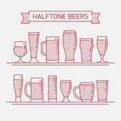 Cool halftone linear flat design vector beer glassware set | Various types of beer glasses mugs and goblets in trendy outline style featuring stout lager porter ale pilsner and other beer glasses