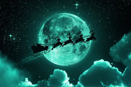 Photo for Santa flying in his sleigh against a full moon background with stars and clouds. - Royalty Free Image