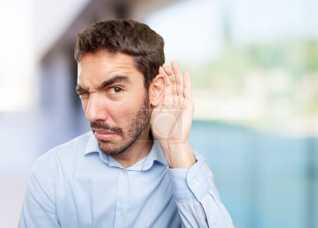 Photo for Close up of a concerned guy with gesture of not listening - Royalty Free Image