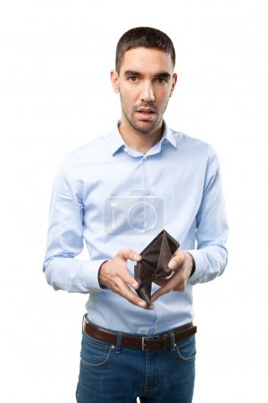 Shocked businessman without money