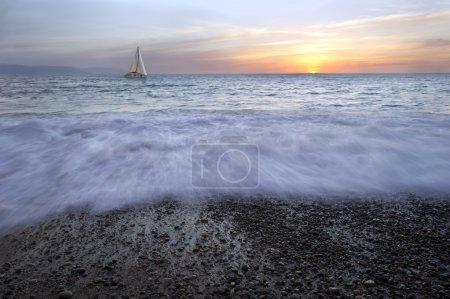 Sailboat Ocean Sunset Waves Seascape