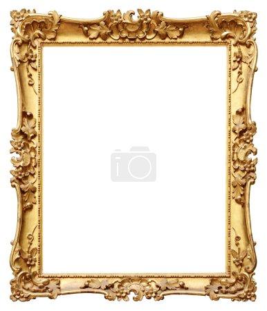 Photo pour Cadre vintage doré isolé sur fond blanc - image libre de droit