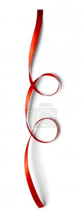 Curly red ribbon