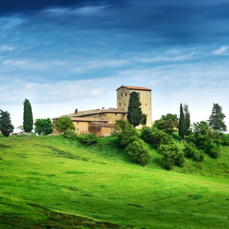 Summer landscape with villa. Italy