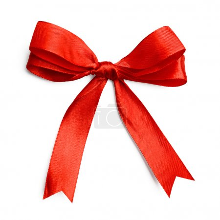 Gift silk bow of red ribbon