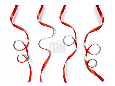 Set of curly red ribbons