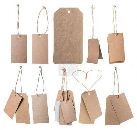 Set of brown blank price tags