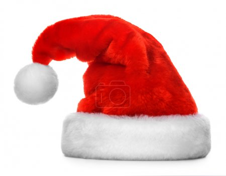 Photo for Single Santa Claus red hat isolated on white background - Royalty Free Image