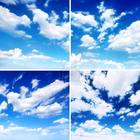 Set of blue skies with clouds