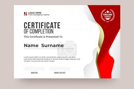 Illustration for Online Certificate of Completion template. Red and white color, Clear design and international style. Easy edit and replace name. Vector eps10 ready to print. - Royalty Free Image