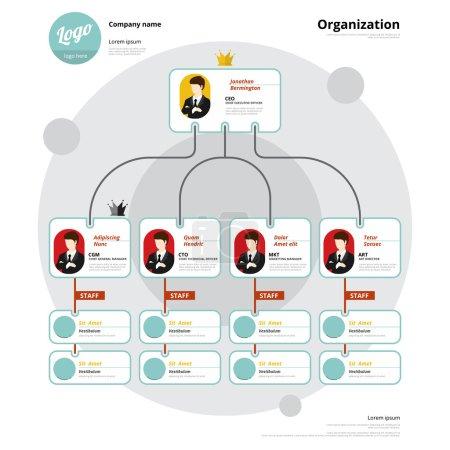 Illustration pour Organigramme, structure du coporat, flux de l'organisation. Illustration vectorielle . - image libre de droit