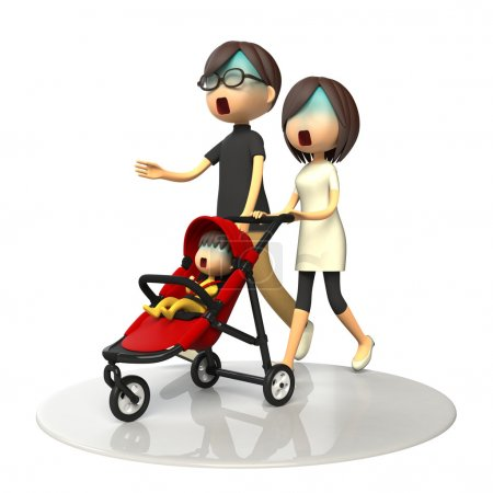 Parents walking with baby buggy