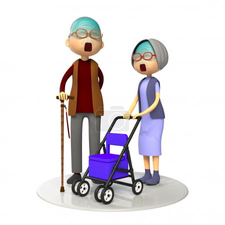 Elderly couple being together
