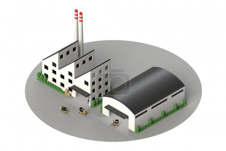 Isometric view of the factory and warehouse
