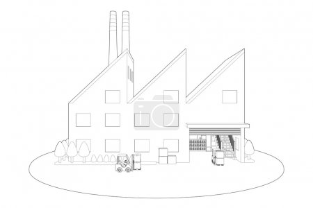 Line drawing of Factory