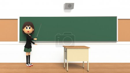 3D-CG image of a Female student who are described with pointing at the direction stick