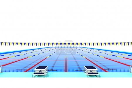 The view from the starting blocks of the 50m swimming pool